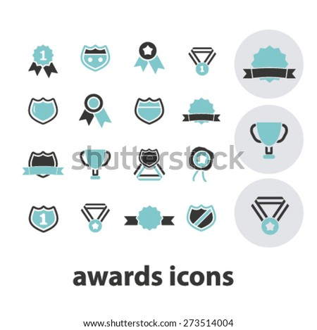 awards, victory, trophy isolated icons, signs, illustrations website, internet mobile design concept set, vector - stock vector