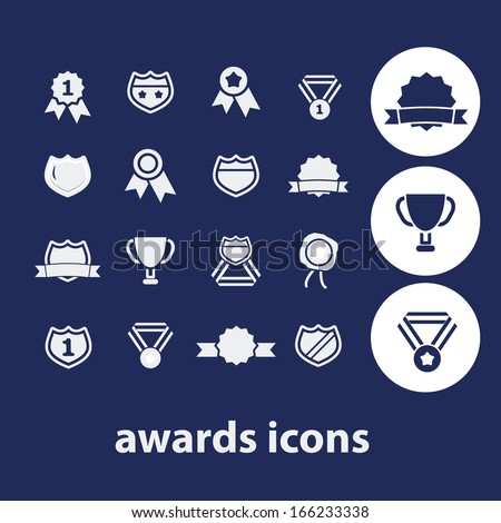 awards, victory, winner icons - stock vector