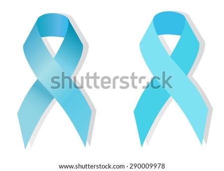 Awareness light blue ribbon on white background. Symbol of prostate cancer. - stock vector