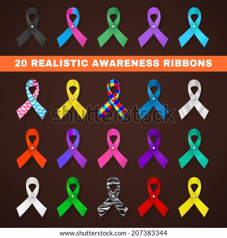 awareness ribbon icons with different ribbons in the form of loops, symbolizing support of social problems, diseases - stock vector