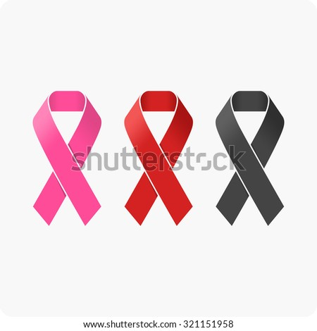 Awareness Ribbons. AIDS icon. Breast cancer awareness symbol. - stock vector