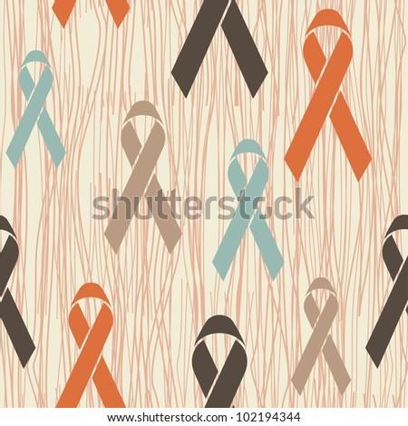 awareness ribbons seamless pattern - stock vector