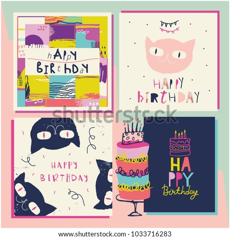 Awesome Birthday Cards Colorful Illustrations Stock Vector
