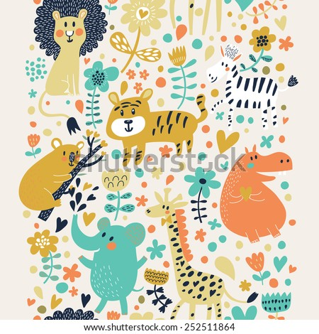 Awesome childish seamless pattern with lion, tiger, zebra, hippopotamus, koala and elephant. Can be used for pattern fills, web page backgrounds, surface textures. Great for children bedroom wallpaper - stock vector