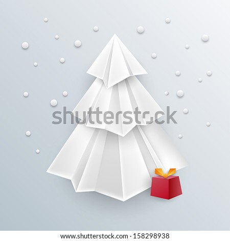 awesome christmas background - 3d christmas paper tree