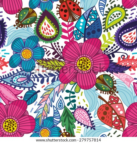 Awesome floral pattern go bright flowers, plants, branches and graphic elements. - stock vector