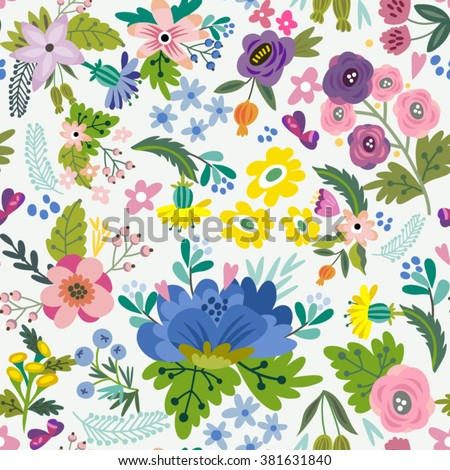Awesome floral pattern of bright flowers in lovely style. Vector backdrop. Summer template. Use for wallpaper,pattern fills, web page background  - stock vector