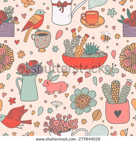 Awesome floral seamless pattern made of different house plants with birds, rabbit and bee in pink colors. Lovely flowers in pots. Sweet natural background in vector - stock vector