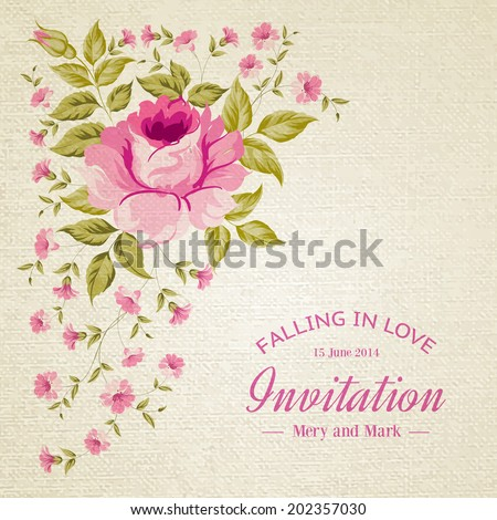 Awesome flower card with roses over white background. Vector illustration. - stock vector
