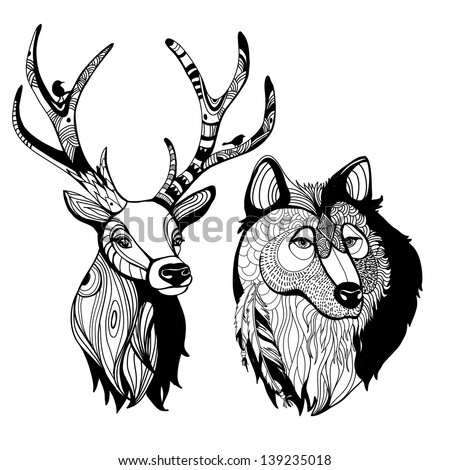 Awesome handmade graphic animals   - stock vector