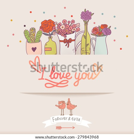 Awesome I love you card in vector. Sweet romantic background with a lot of beautiful flowers in popular modern colors
