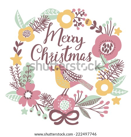 Awesome Merry Christmas Card In Vector. Cute Stylish Bird On Merry Christmas  Text On Bright