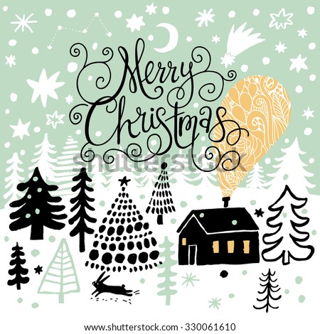 Awesome Merry Christmas card in vector. Lovely holiday background in stylish colors. Winter composition for lovely holiday designs - stock vector