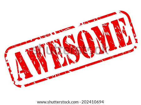 AWESOME red stamp text on white - stock vector