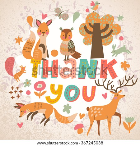 Awesome thank you card in bright colors. Lovely foxes, owl, deer, rabbit and squirrel in cartoon style with concept text in vector. Thank You print design - stock vector