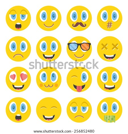 Awesome vector emoticons set. Creative graphic design illustrations. Isolated on white background. - stock vector