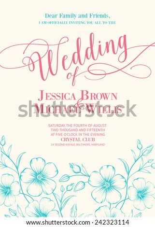 Awesome wedding invitation with generic text for your design. Vector illustration.