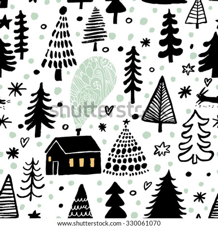 Awesome winter seamless pattern in vector. Stylish back, green and white holiday background. Winter composition for lovely holiday designs - stock vector