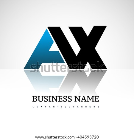 AX company linked letter logo icon blue and black - stock vector