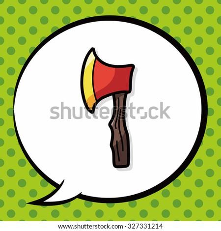 axe color doodle, speech bubble - stock vector