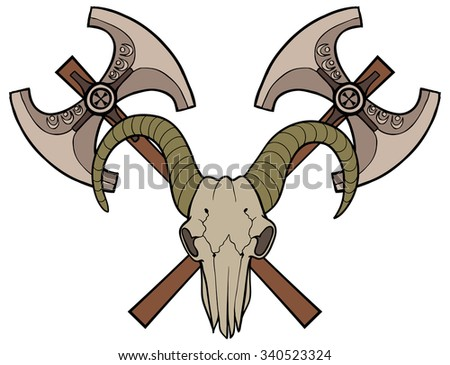 Axes and goat skull. Knight's sign. Color illustration.