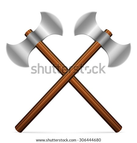 Axes on a white background. Vector illustration.