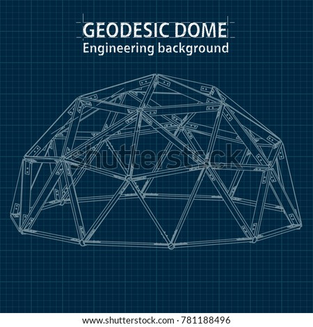 Axonometric drawing blueprint geodesic domes lines vectores en stock axonometric drawing blueprint geodesic domes with lines of building vector malvernweather Images