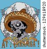 Ay caramba / Mexican skull /Also available in separate layer the original vector without scratch - stock vector