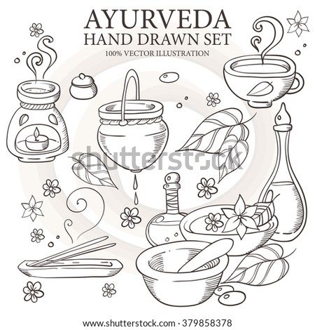 Ayurveda medicine, aromatherapy candle, water, bowl, oil, tea, bottle, flower, leaf, spirit spa set. Hand drawn natural therapy vector illustration - stock vector