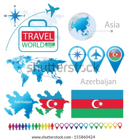 Azerbaijan. flag. Asia. World Map. Travel vector Illustration.