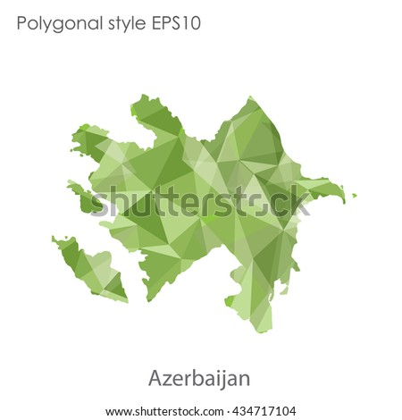 Azerbaijan map in geometric polygonal style.Abstract gems triangle,modern design background.Vector illustration EPS10