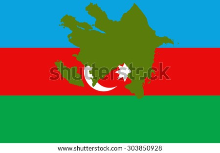 Azerbaijan map on a flag background