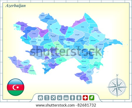 Azerbaijan Map with Flag Buttons and Assistance & Activates Icons Original Illustration - stock vector