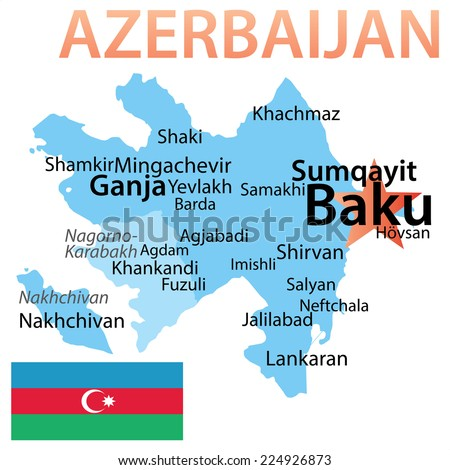 Azerbaijan - map with largest cities. Text scaled by city population.