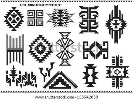 Aztec decorative vector set - stock vector