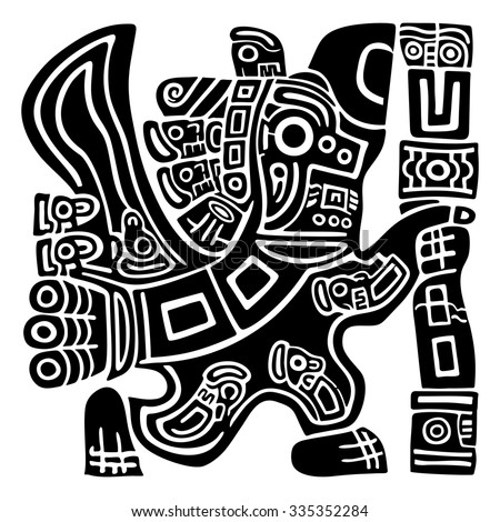 Aztec Eagle Warrior - stock vector