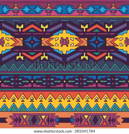 Aztec geometric seamless pattern in bright colors. - stock vector