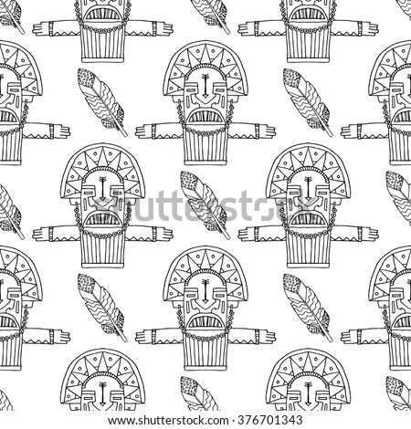 Mesoamerican stock vectors images vector art shutterstock for Aztec mask template