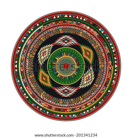 Aztec mandala, round geometric motif against white background - stock vector