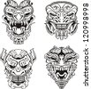Aztec monster totem masks. Set of black and white vector illustrations. - stock photo