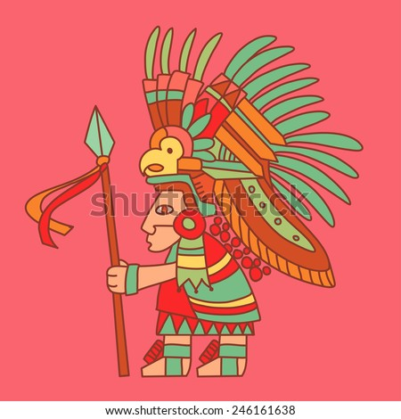 Aztec redskin warrior with a spear. Mexican traditional historical character. Vector illustration - stock vector