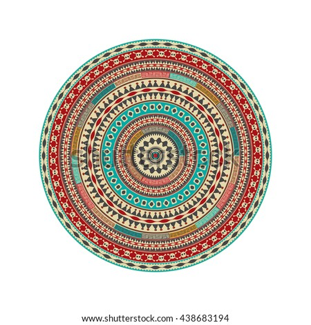 Aztec round decorative design element - stock vector