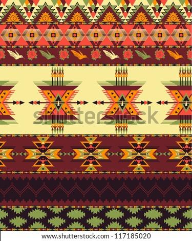 Aztec seamless pattern - stock vector