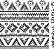 Aztec seamless pattern. Can be used in fabric design for making of clothes, accessories; decorative paper, wrapping, envelope; web design, etc. Swatches of seamless pattern included in the file. - stock vector