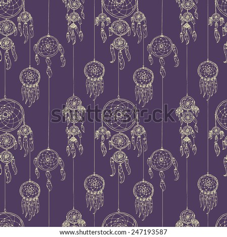 Aztec Seamless Pattern. Geometric abstract background with dream catchers.