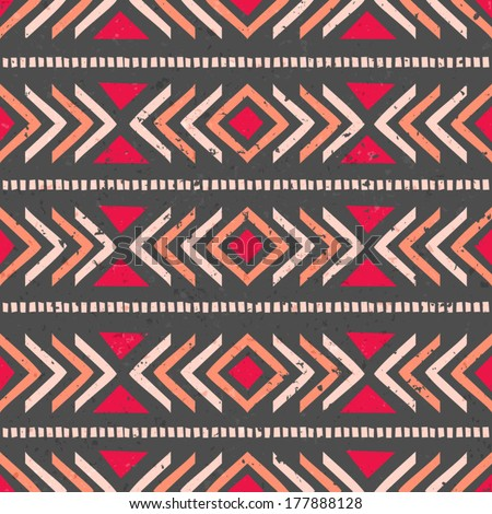 Aztec seamless pattern in brown, red and orange. - stock vector
