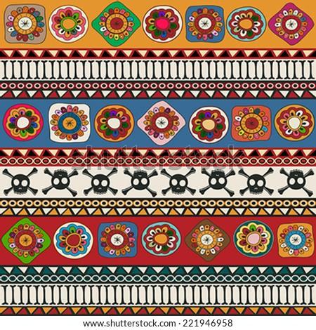 Aztec seamless repeating pattern design - stock vector