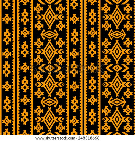 Aztec tribal art seamless pattern in black and gold. Ethnic mexican print. Folk border repeating background texture - stock vector