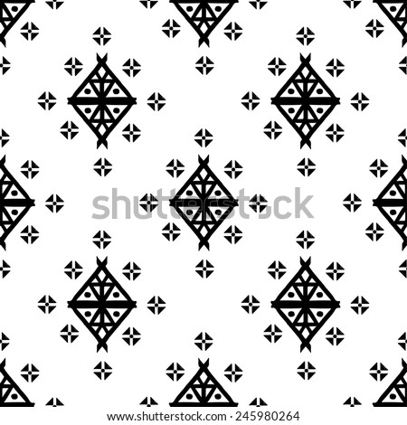 Aztec tribal art seamless pattern in black and white. Ethnic mexican monochrome print. Folk repeating background texture - stock vector