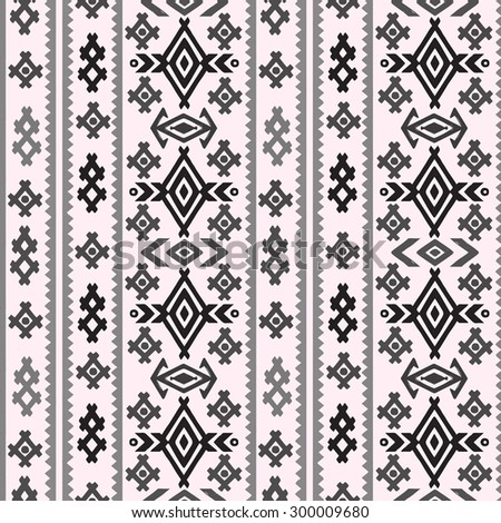 Aztec tribal art seamless pattern in black and white. Ethnic monochrome geometric print. Folk border repeating background texture. Fabric, cloth design, wallpaper, wrapping - stock vector